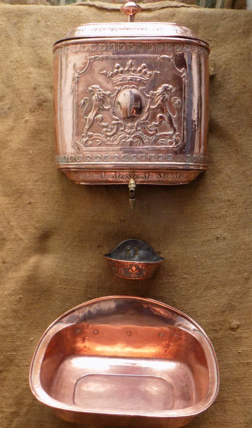 Old french copper lavabo with reservoir soap dish and basin