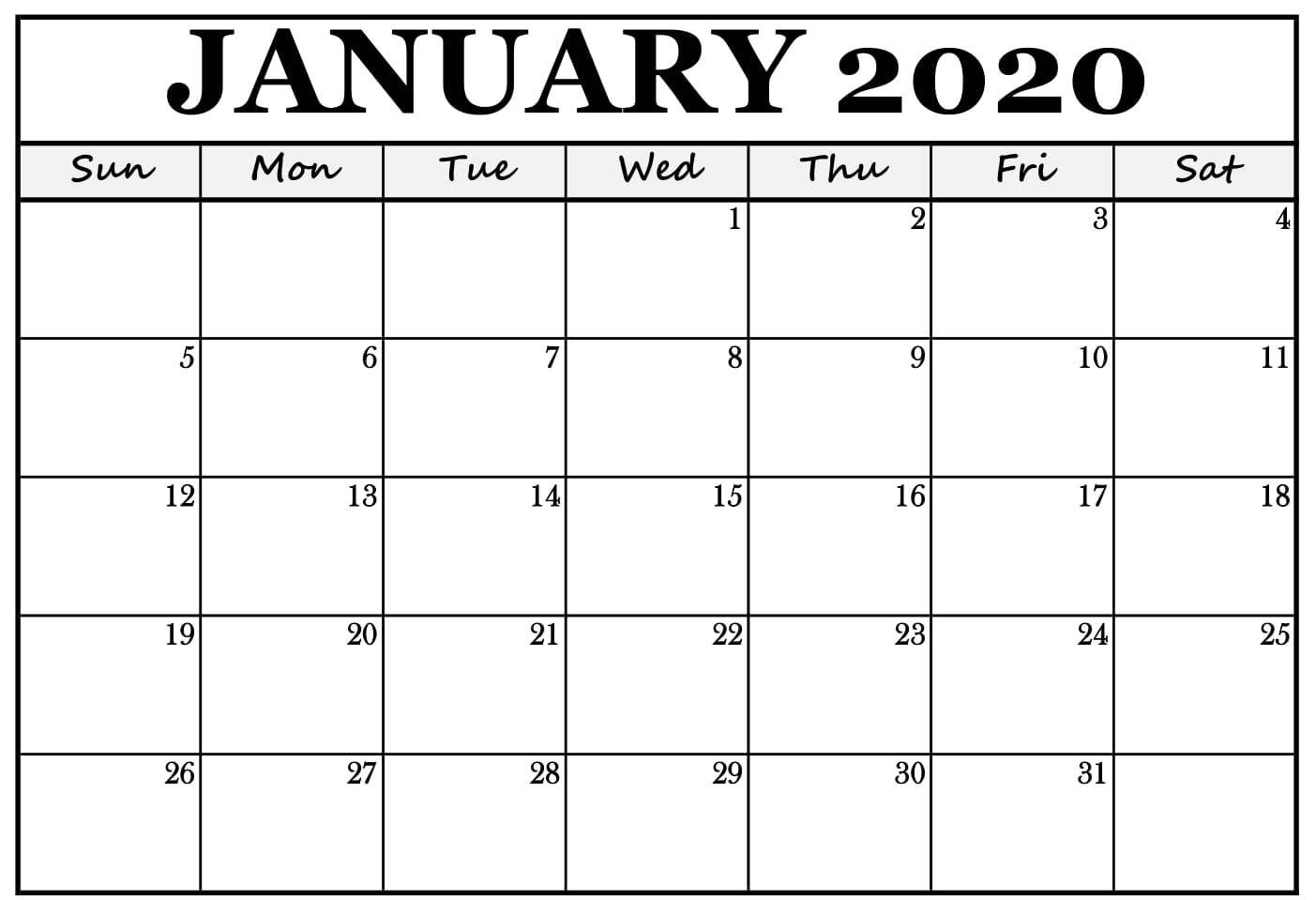 January Calendar 2020 Template Calendar Printables Printable