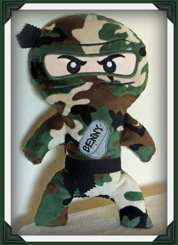 Ninja camo plush doll custom personalized by NiceThreads on Etsy #boydollsincamo Ninja camo plush doll custom personalized by NiceThreads on Etsy #boydollsincamo