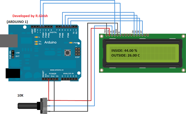 Arduino To Lcd Display Connection 10k Potentiometer Arduino Circuit Projects Wireless Thermometer