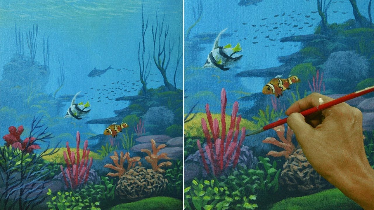 Acrylic Seascape Painting Tutorial Underwater Corals And Fishes