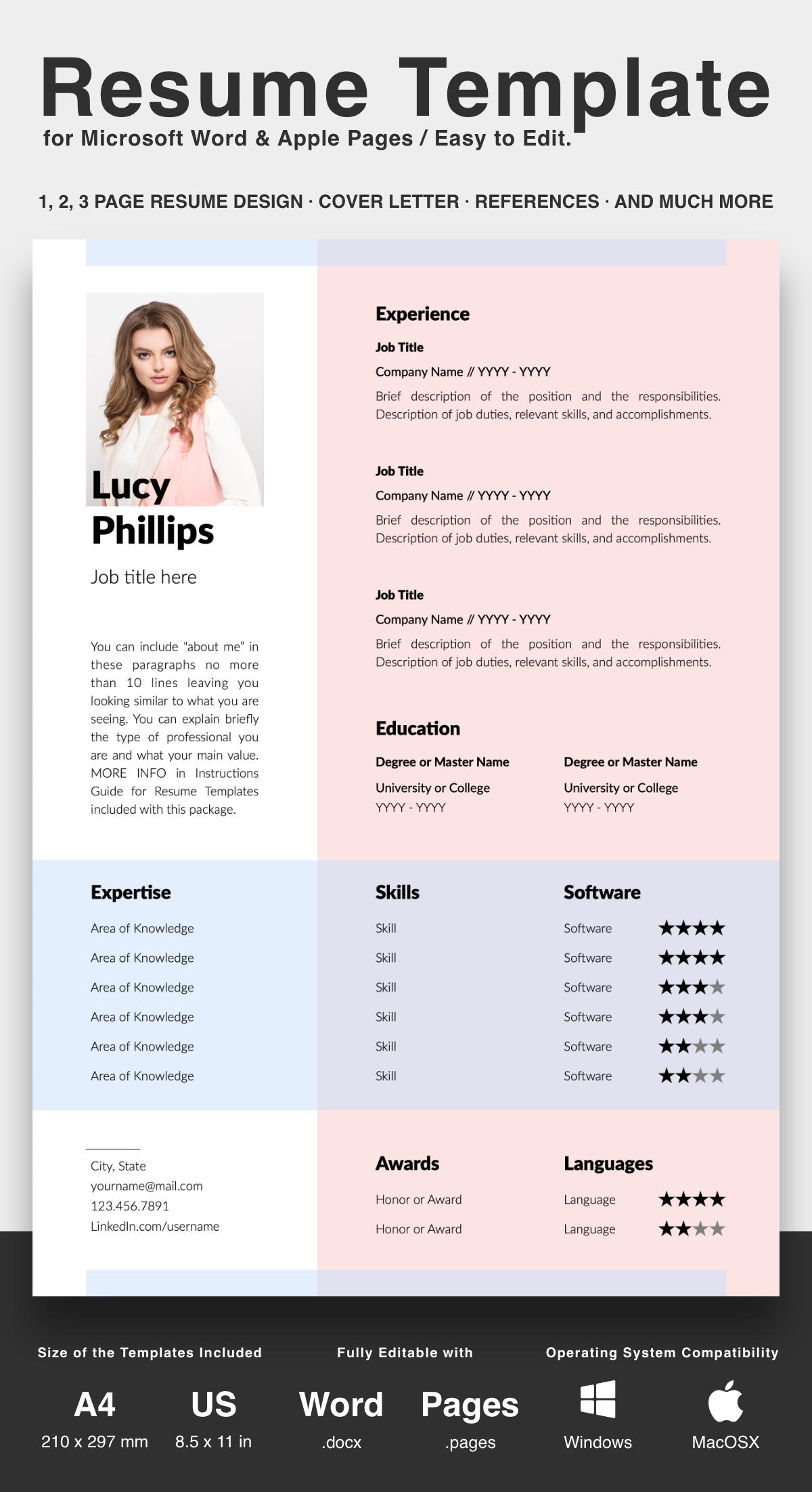 Professionelle Lebenslauf Vorlage Fur Microsoft Word Und Apple Pages Downloadable Resume Template Modern Resume Resume