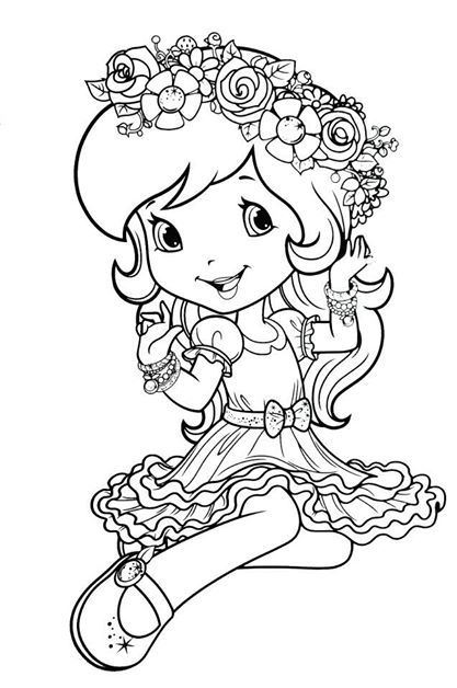 Dn Strawberry Shortcake Coloring Page With Images Strawberry