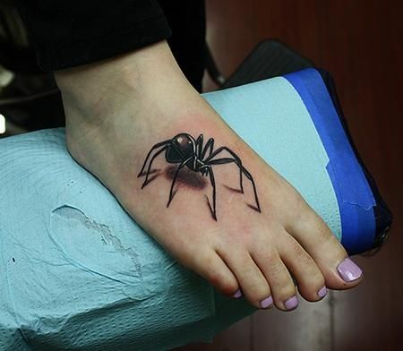 These Black Widow Spider Tattoos On Various Parts Of Body Spider