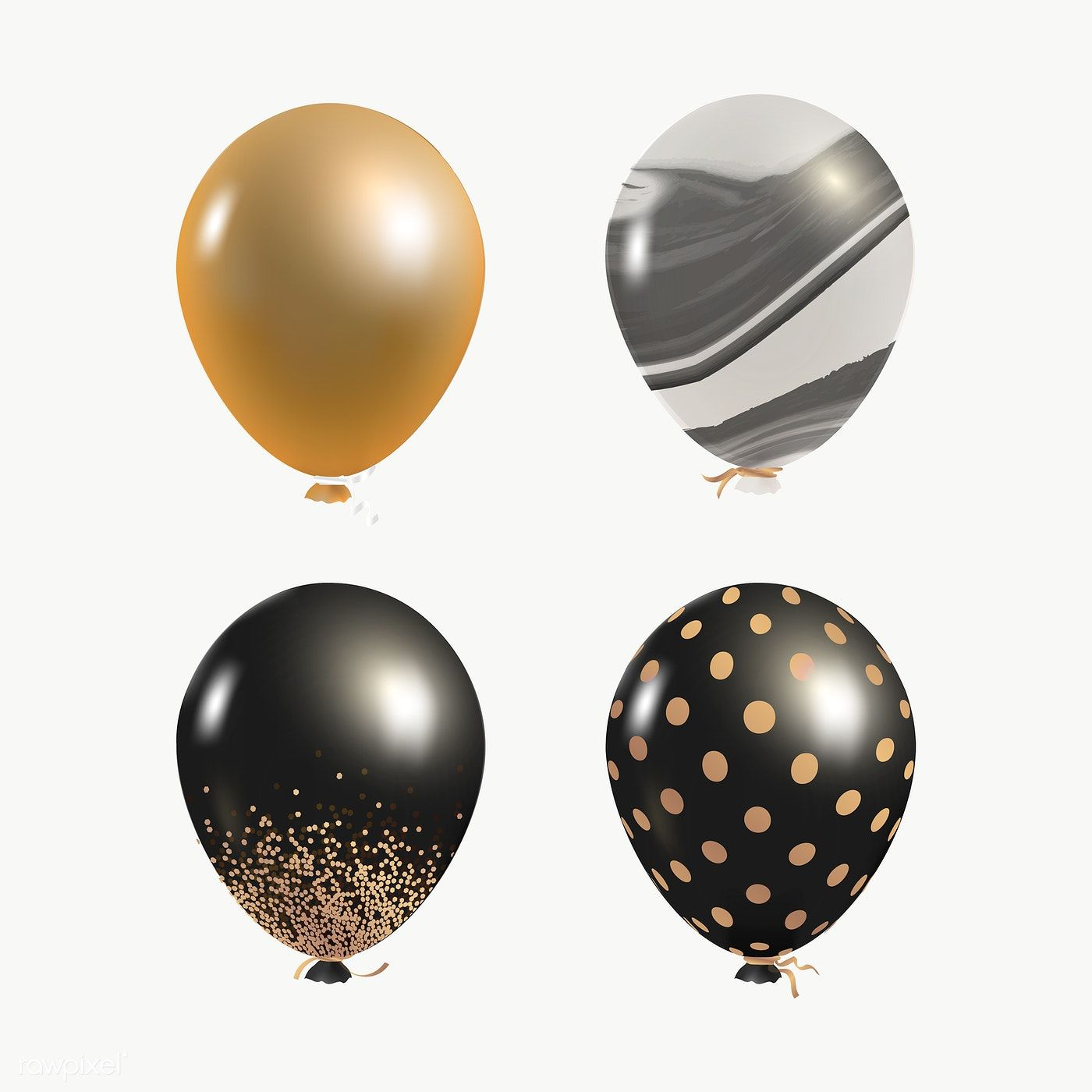 Elegant Event Balloons Set Transparent Png Free Image By Rawpixel Com Kappy Kappy Marble Balloons Balloons Black Balloons