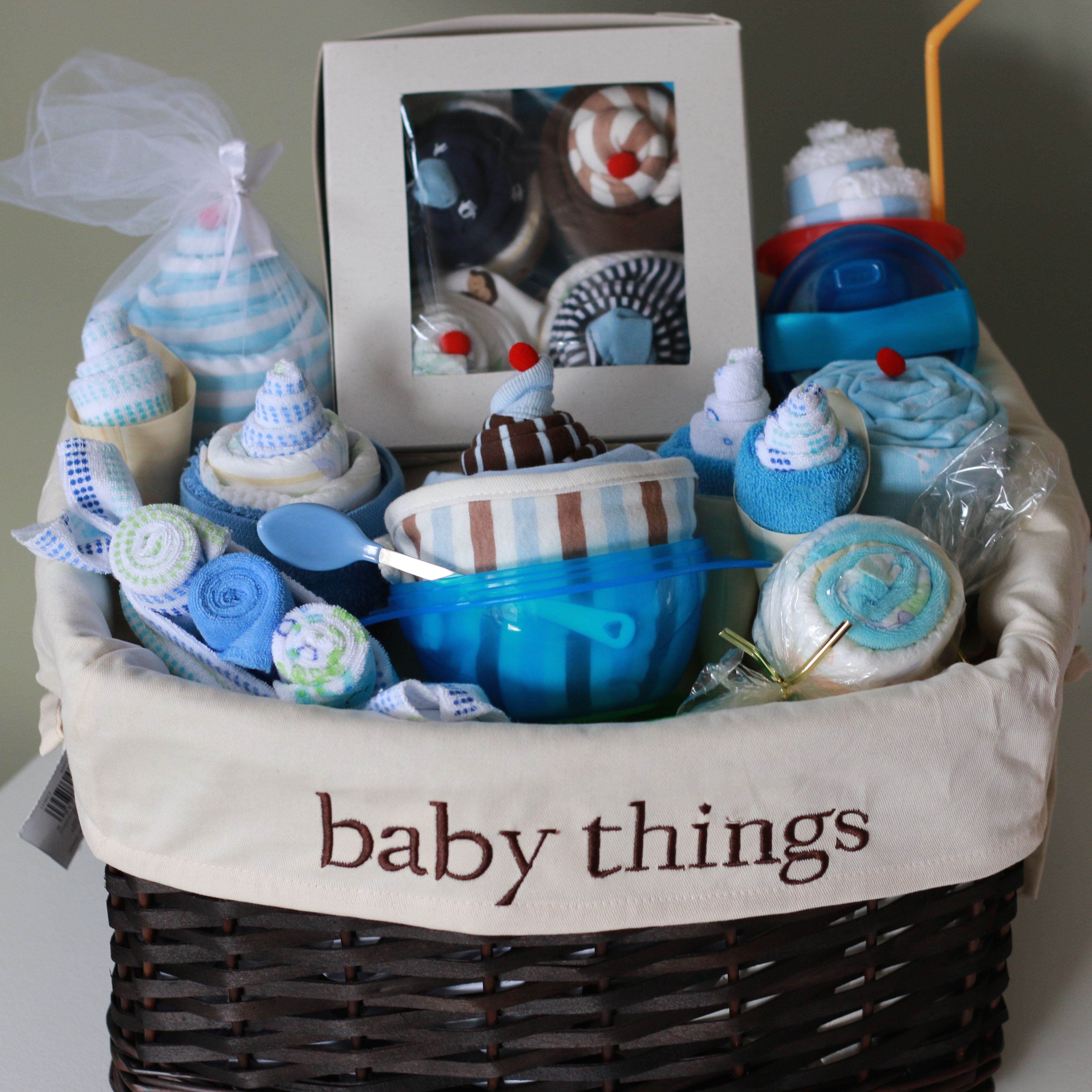 """Baby Things"" Basket: onesie cupcakes, outfit sundae, receiving blanket cupcake, wash cloth ice cream and more!!!! #uniquebabygift #montreal"