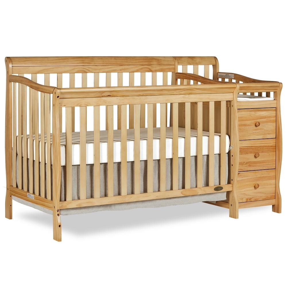 Dream On Me Brody Natural 5 In 1 Convertible Crib With Changer Convertible Crib Cribs Wooden Cribs