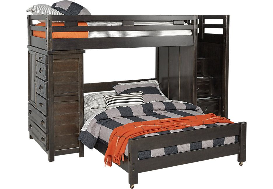 Creekside Charcoal Twin Full Step Bunk With Chest Bunk Beds