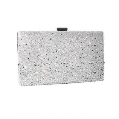 1b2cc7b70f Arya Italian Jewels - Annabella Wedding Silver Clutch Bag with Swarovski  Crystal - Annabella Pochette Donna