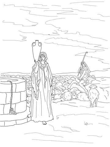 Jacob Meets Rachel At Well Coloring Page Coloring Pages