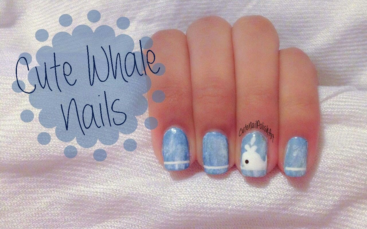 DIY cute fun easy nail art whales | Finding dory craft boared ...