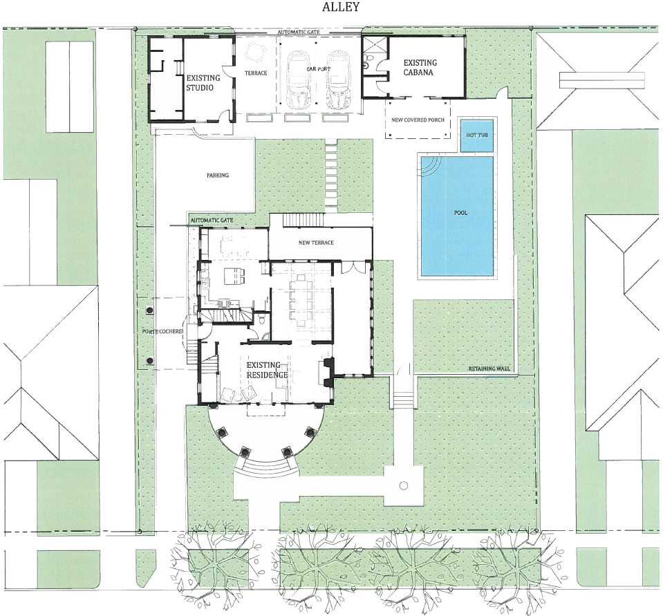 Proposed Site Plan Comprehensive Work This Example For Conceptual Approval Uses Color To Indicate New Hardscaping Site Plan Conceptual Architecture Details