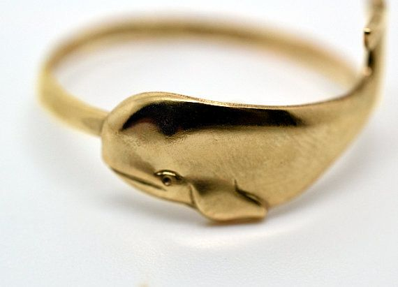 Gold Whale Ring Handforged 14K Gold Fill Ring di fifthheaven, $35.00