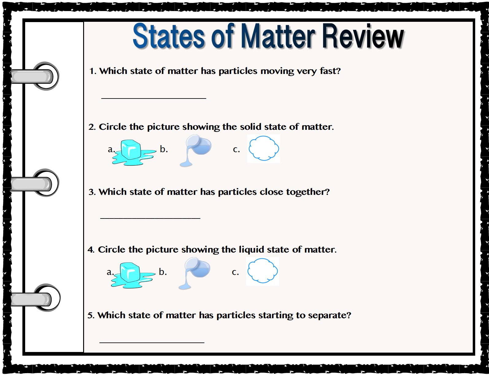 States Of Matter Anchor Charts And Practice Sheet