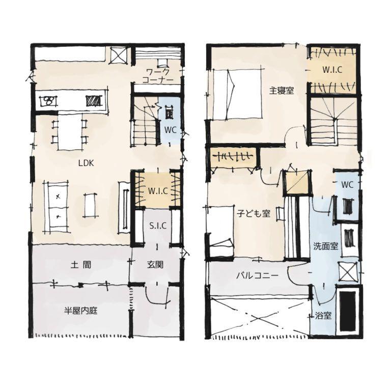 プライベートなお庭のある家の間取り 27坪 2ldk 2階建て
