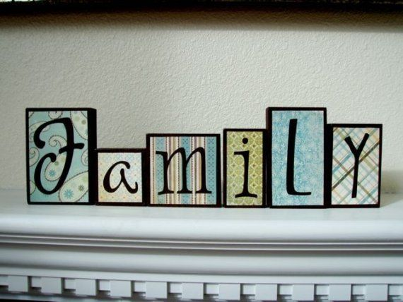 family wood block letters by briwen on etsy