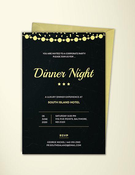 Free Gala Dinner Night Invitation Free Invitation Templates