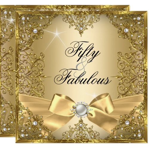 50 Fabulous Gold Pearl Bow 50th Birthday Invitation In