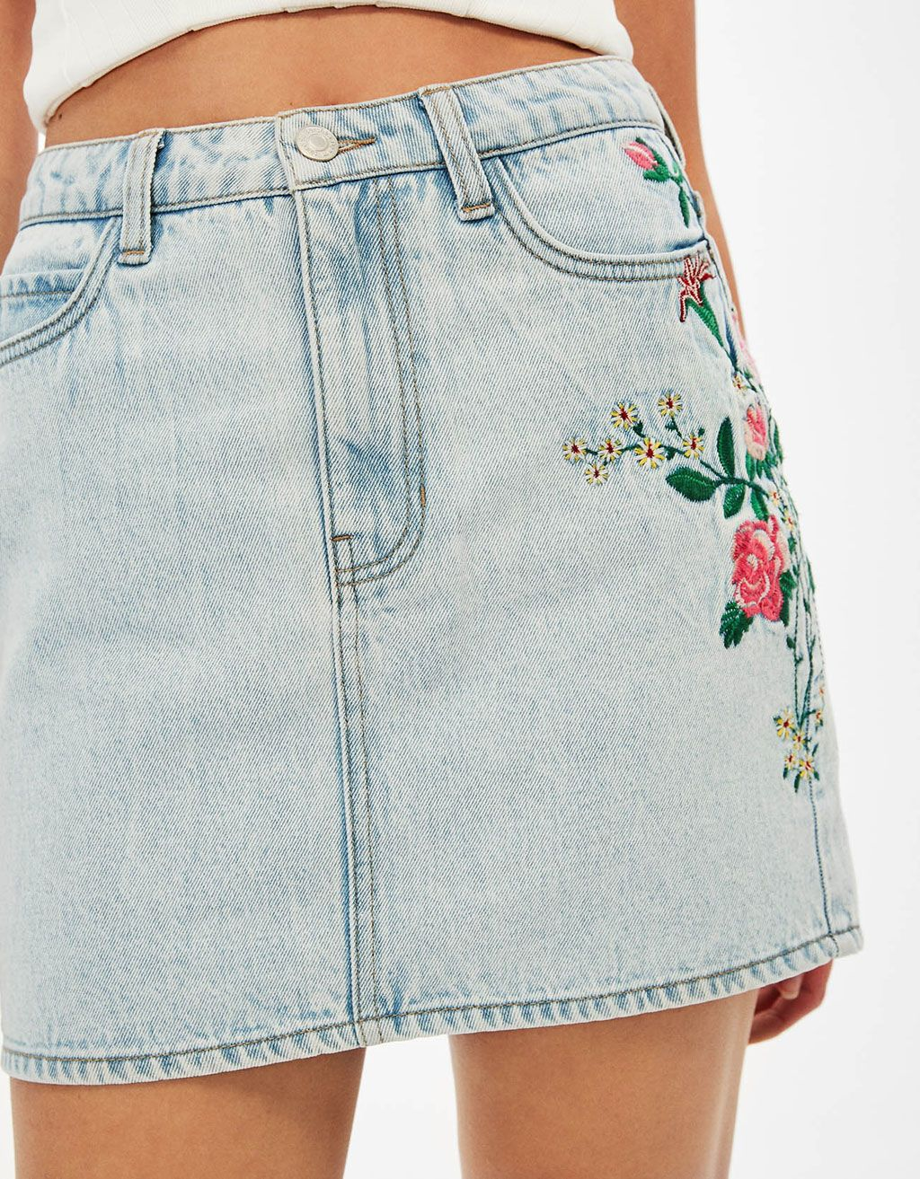 Denim mini skirt with floral embroidery. Discover this and many more items  in Bershka with new products every week 7815667274be