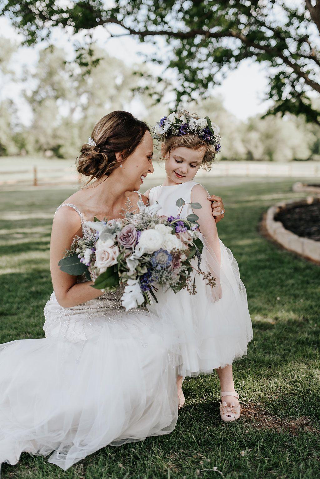Bohemian lavender wedding flowers boho flower girl in a white