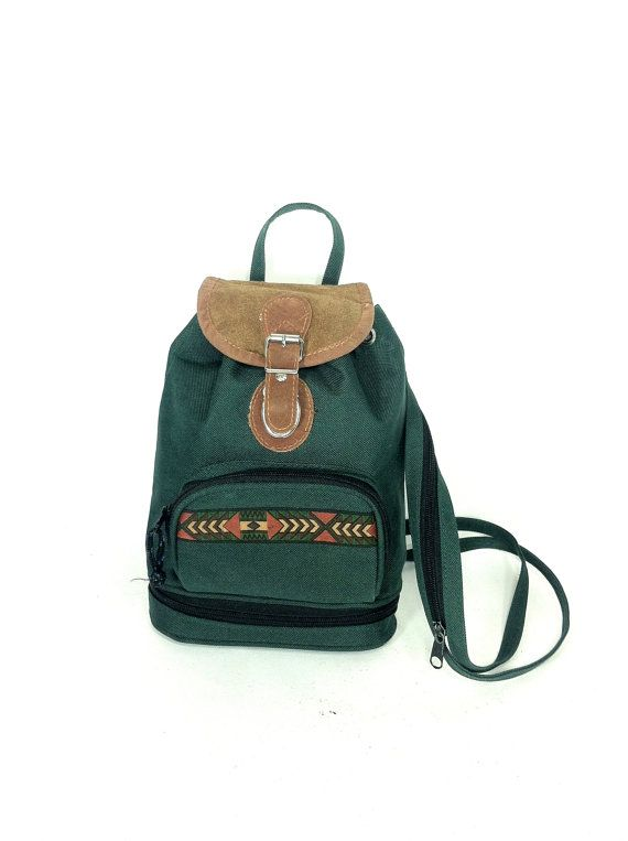 90s Mini Backpack Green Canvas and Leather by MelissaJoyVintage ...