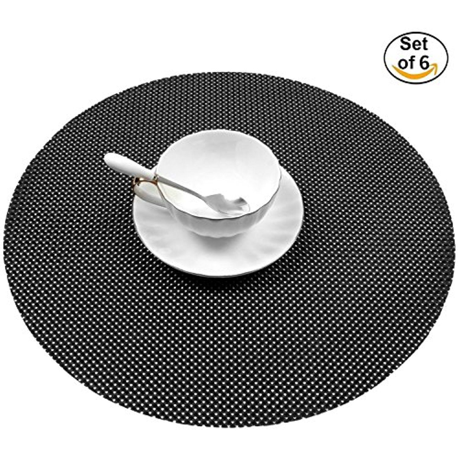 Placemats Round Black 15 Washable For Table Set
