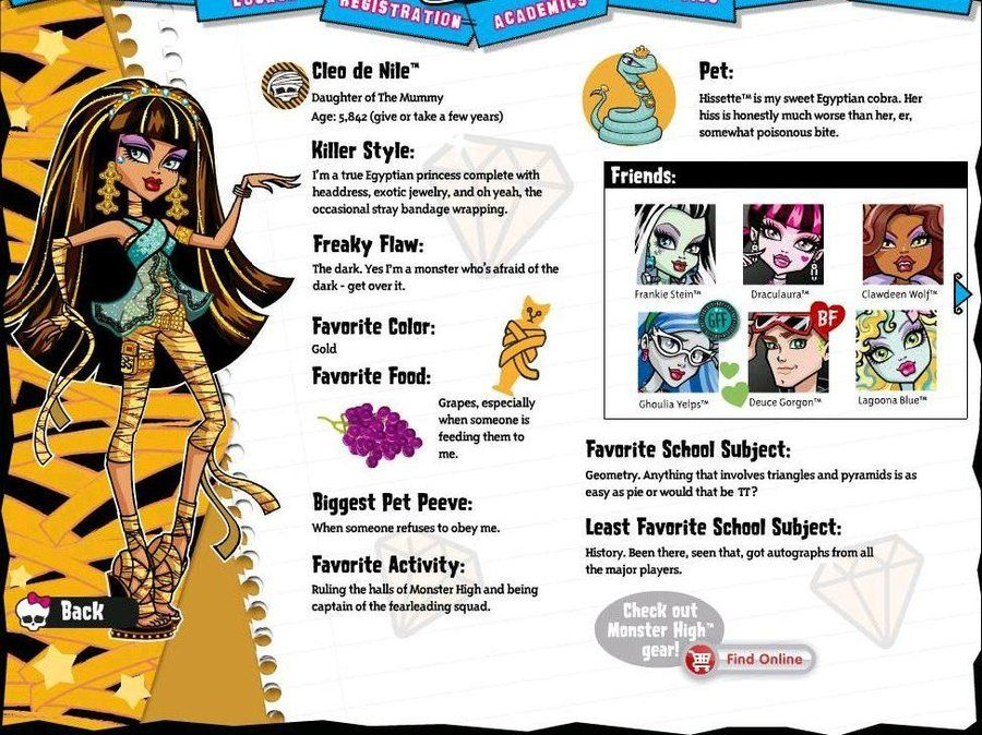 monster high characters profiles