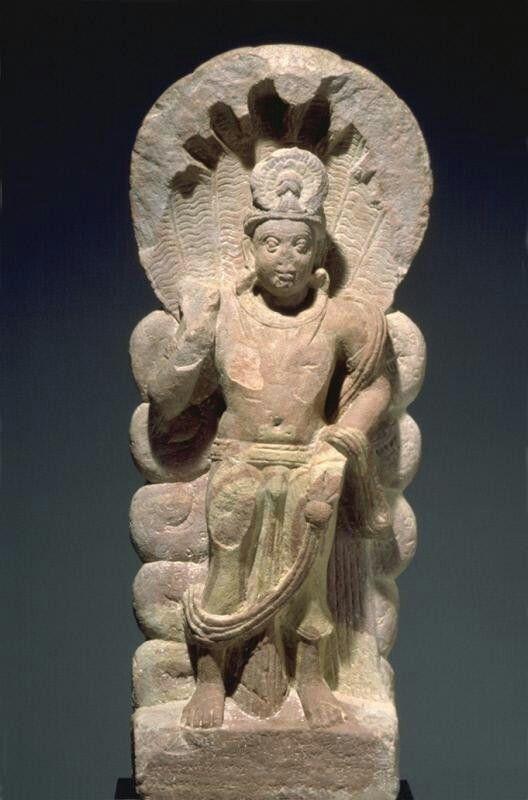 Serpent king (nagaraja) Place of Origin: India, Uttar Pradesh state Date: probably 207 Materials: Sandstone Style or Ware: Kushan