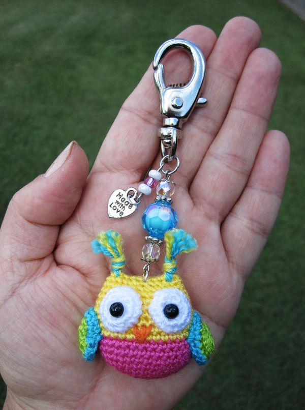 Owl key ring   Crochet owls   Pinterest   Häckeln, Häkeln und Häkeltiere