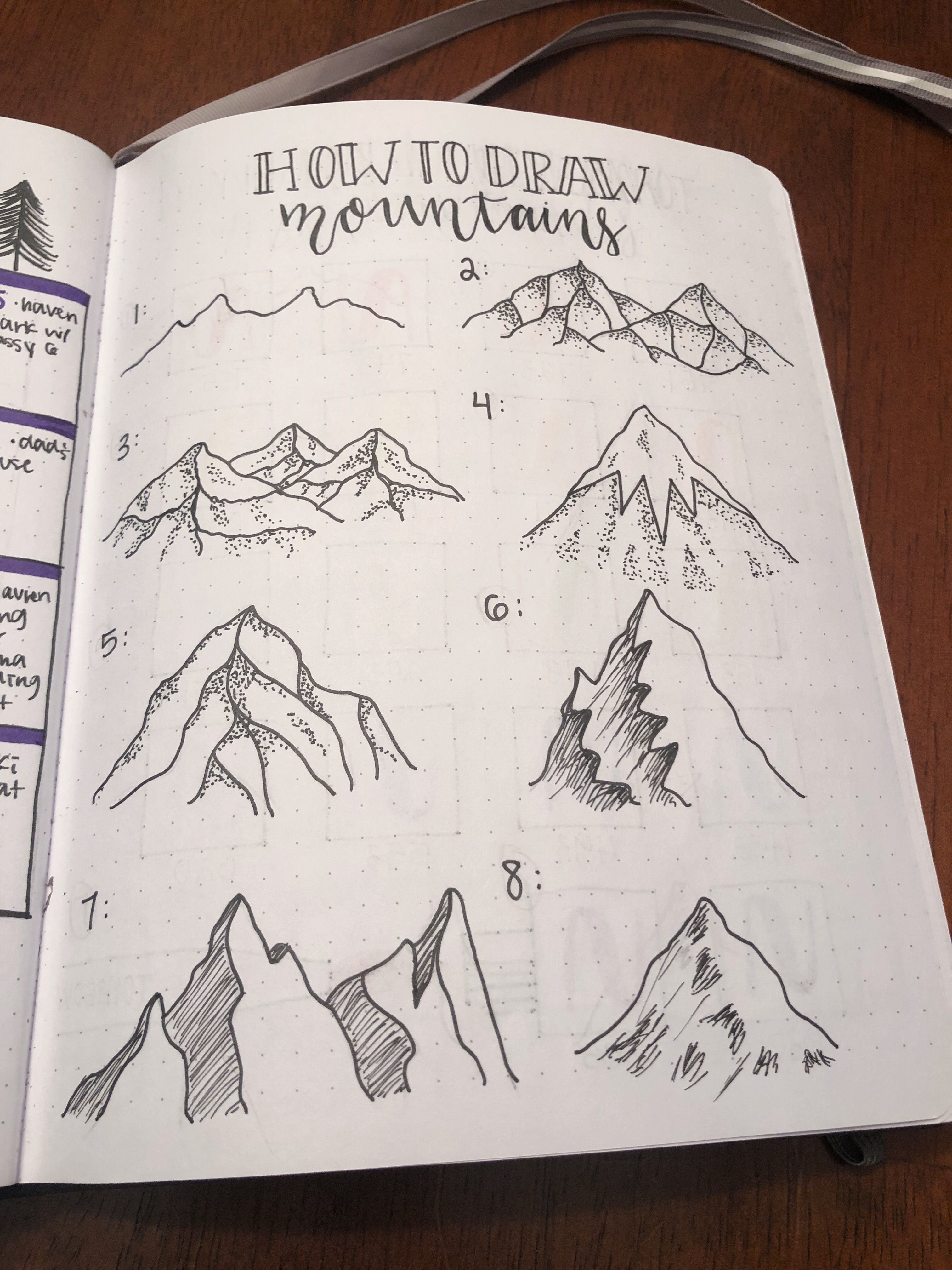 How To Draw Mountains Bullet Journal Ideas Pages Bullet Journal Doodles Bullet Journal Art