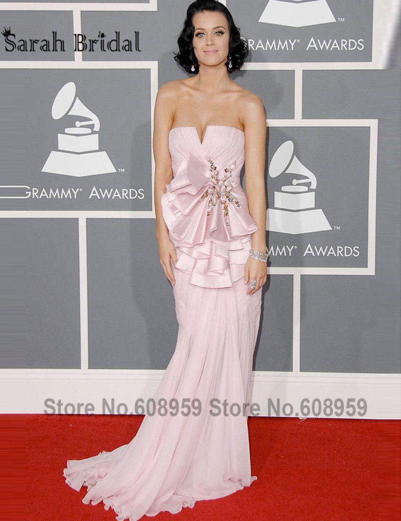 Elegant pink katy perry mermaid red carpet celebrity dresses