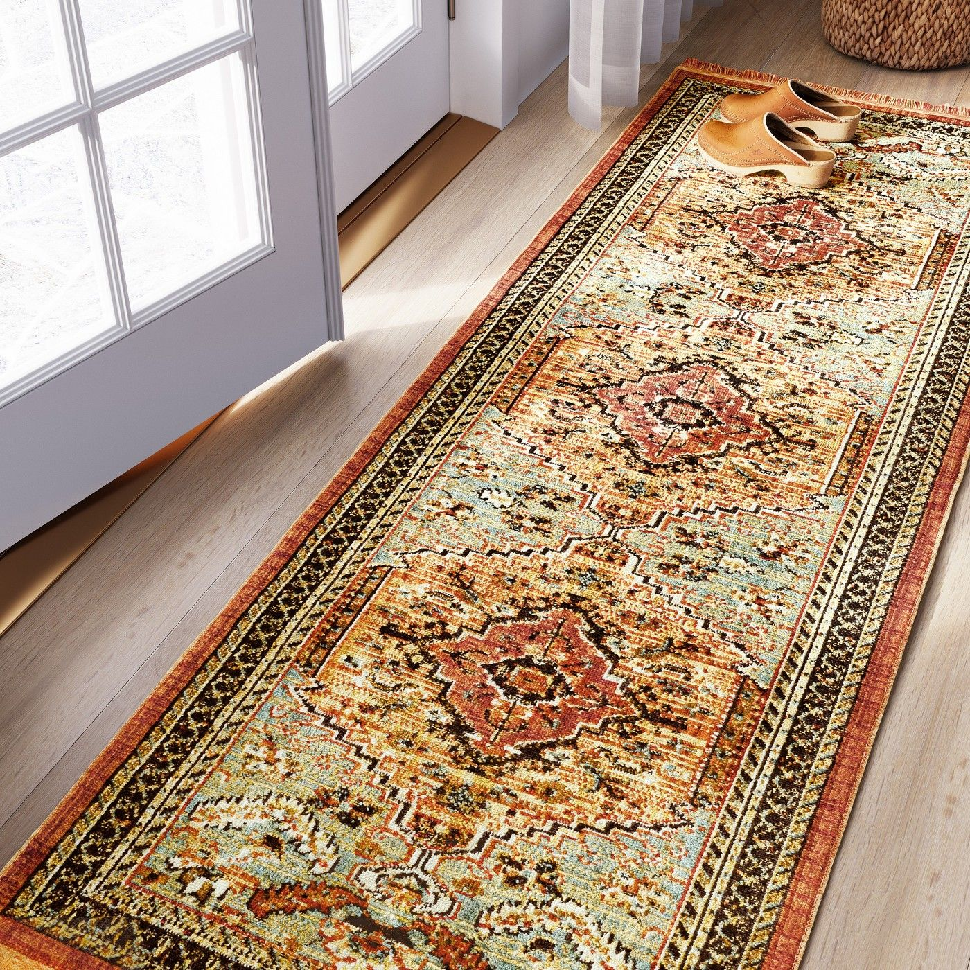 2 25 X7 Runner Floral Woven Accent Rug Green Red Threshold