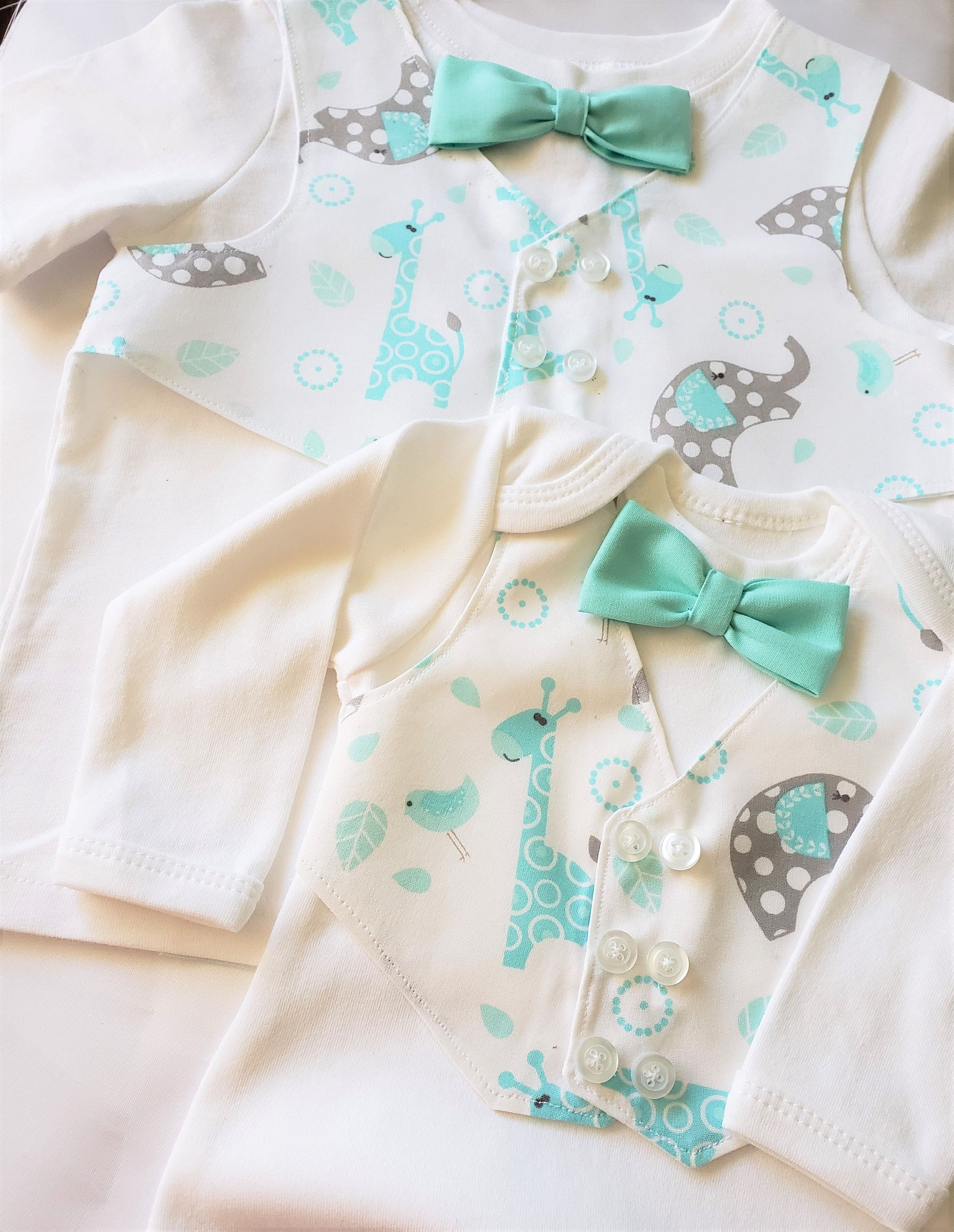 Stylish Animal Print Vest and Bow-tie Newborn Boy Coming Home Outfit