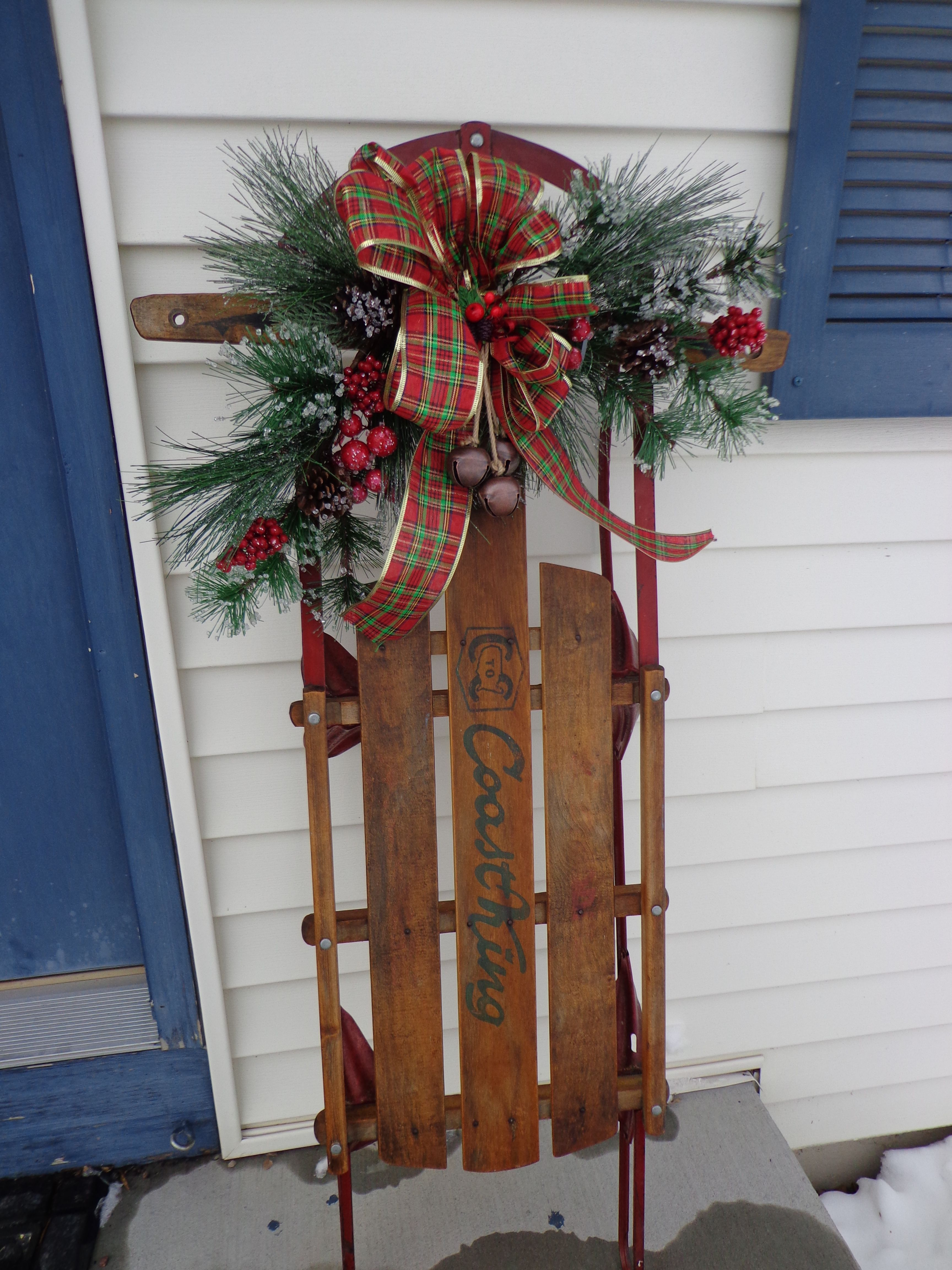 Our childhood sled that my sister had the foresight to save. She was ...
