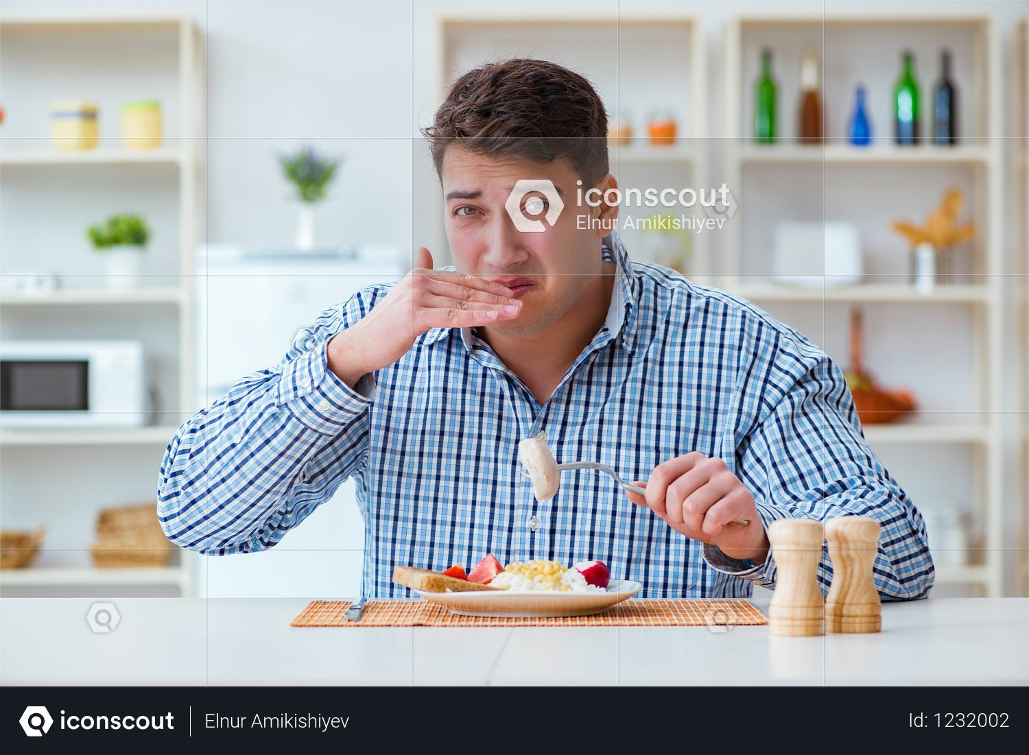 Premium Young Student Eating Tasteless Food At Home For Lunch Photo Download In Png Jpg Format Lunch Photos Lunch Eat