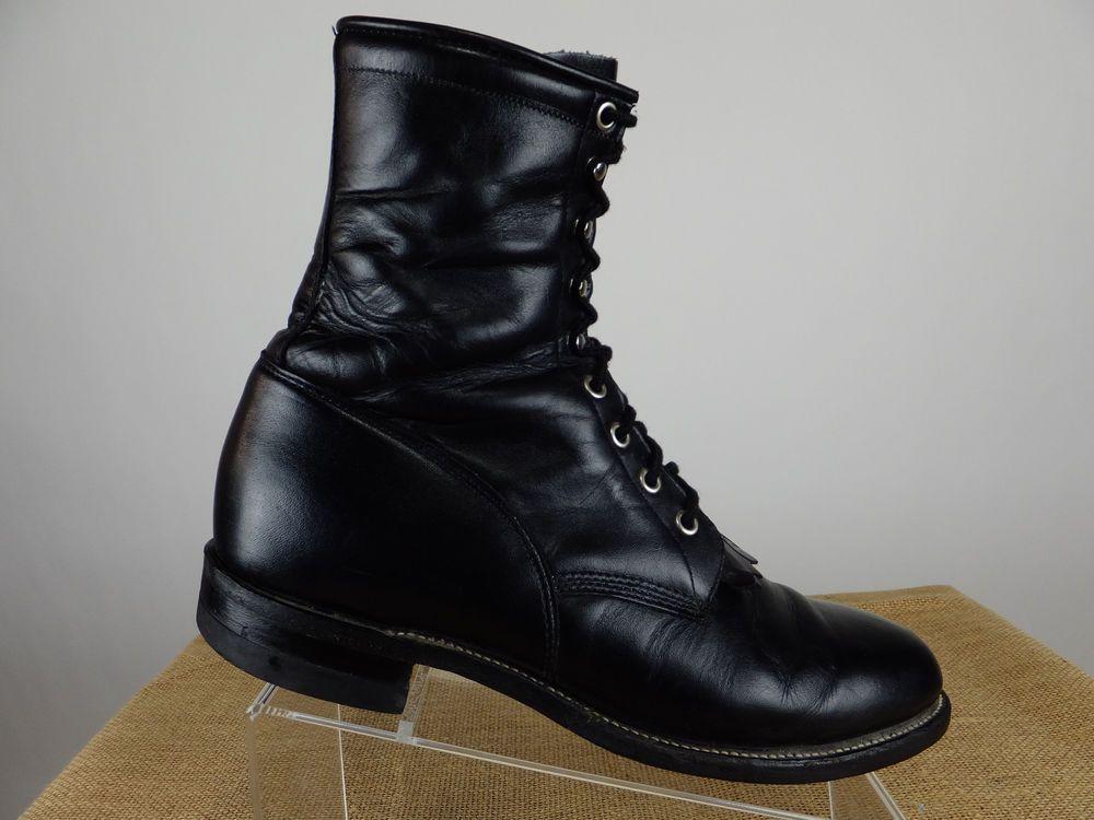 29e0bae63abd8 Details about Justin Black Leather Lace Kiltie Roper Cowboy Boots ...