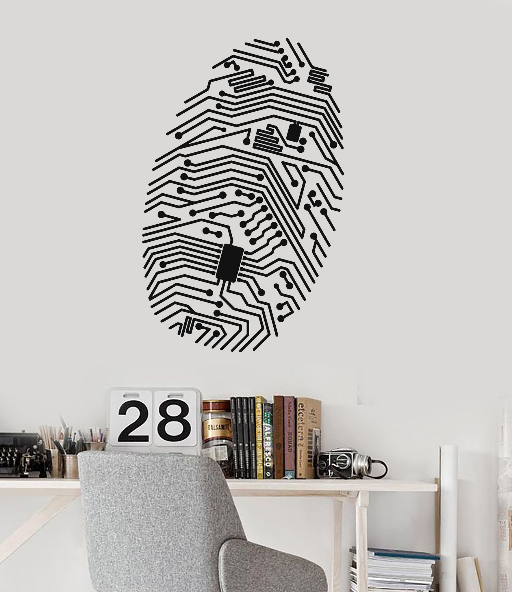 Vinyl wall decal fingerprint chip computer geek security it vinyl wall decal fingerprint chip computer geek security it stickers unique gift 086ig amipublicfo Choice Image