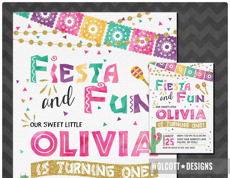 Fiesta Birthday Invitation, Spanish Birthday Invitation, Fiesta and ...