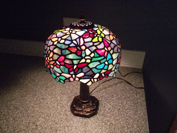 Butterfly Design Tiffany Style Lamp by MomCaveStainedGlass on Etsy