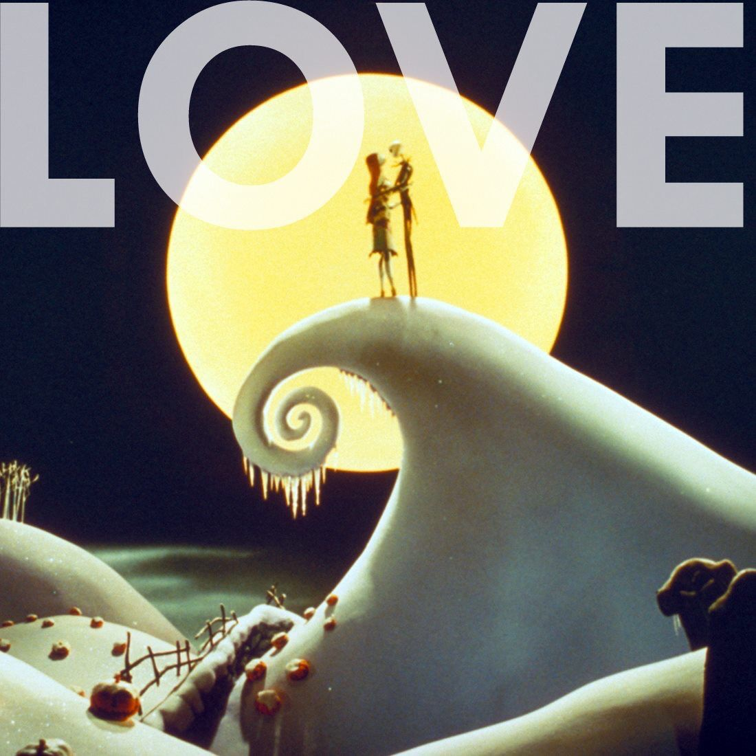 Jack and Sally On Snowy Spiral Hill | Nightmare Before Christmas ...