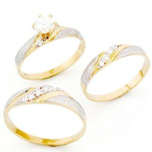 amazoncom 10k two tone gold his hers trio cz wedding ring sets - Gold Wedding Ring Sets