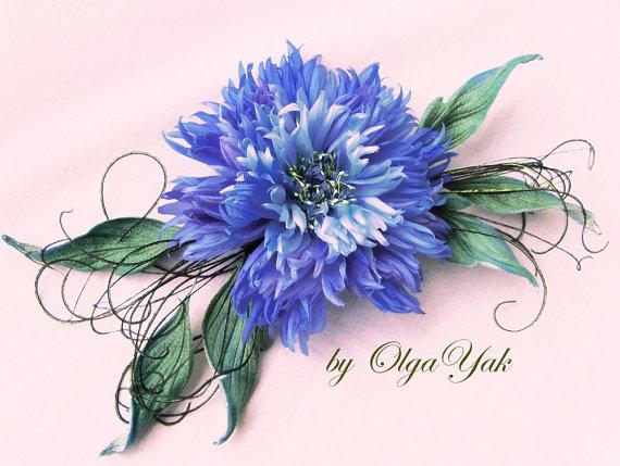 Silk Blue Cornflower Cornflower Bridal Flower Silk Flower Blue Brooch Hair Pin Hair Clip Hat Accessories Handmade Corsage Flower Blue Brooches Silk Flowers Bridal Flowers