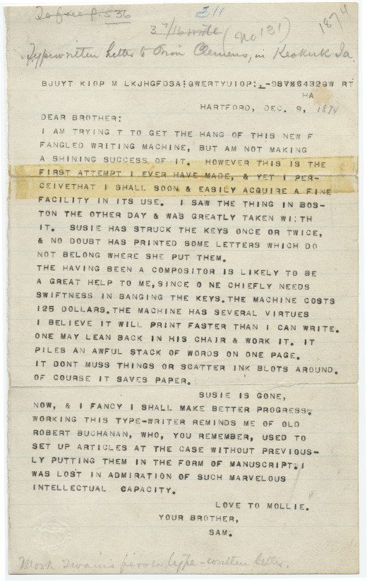 Letter Written On An Early Typewriter Remington No  By Samuel