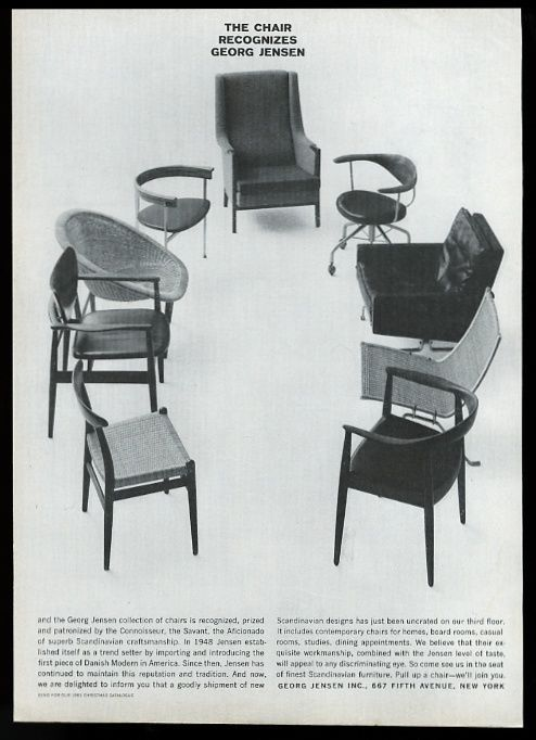 Modern Furniture Ads 1961 georg jensen danish modern chair 9 styles photo vintage print