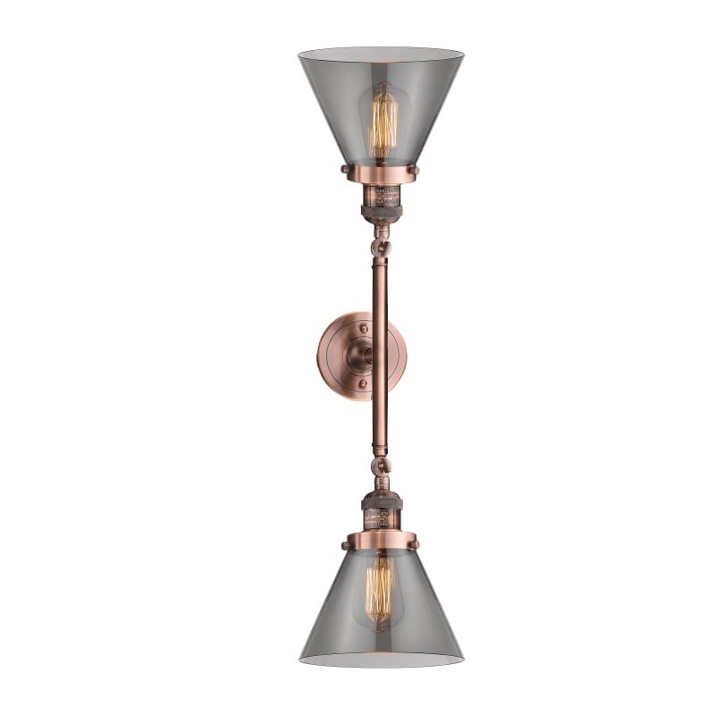 Photo of Innovations Lighting 208L Large Cone Large Cone 2 Light 23″ Wide Bathroom Vanity Antique Copper / Smoked Indoor Lighting Bathroom Fixtures Vanity