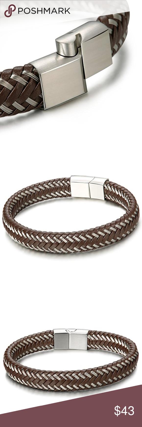 New stylish men braided leather bracelet bangle new stylish men
