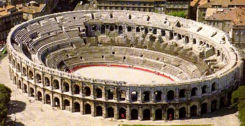 The Arena Of Nimes A Roman Ampitheater Built About 70ad Nimes France Ancient Roman Architecture Nimes Ancient Architecture