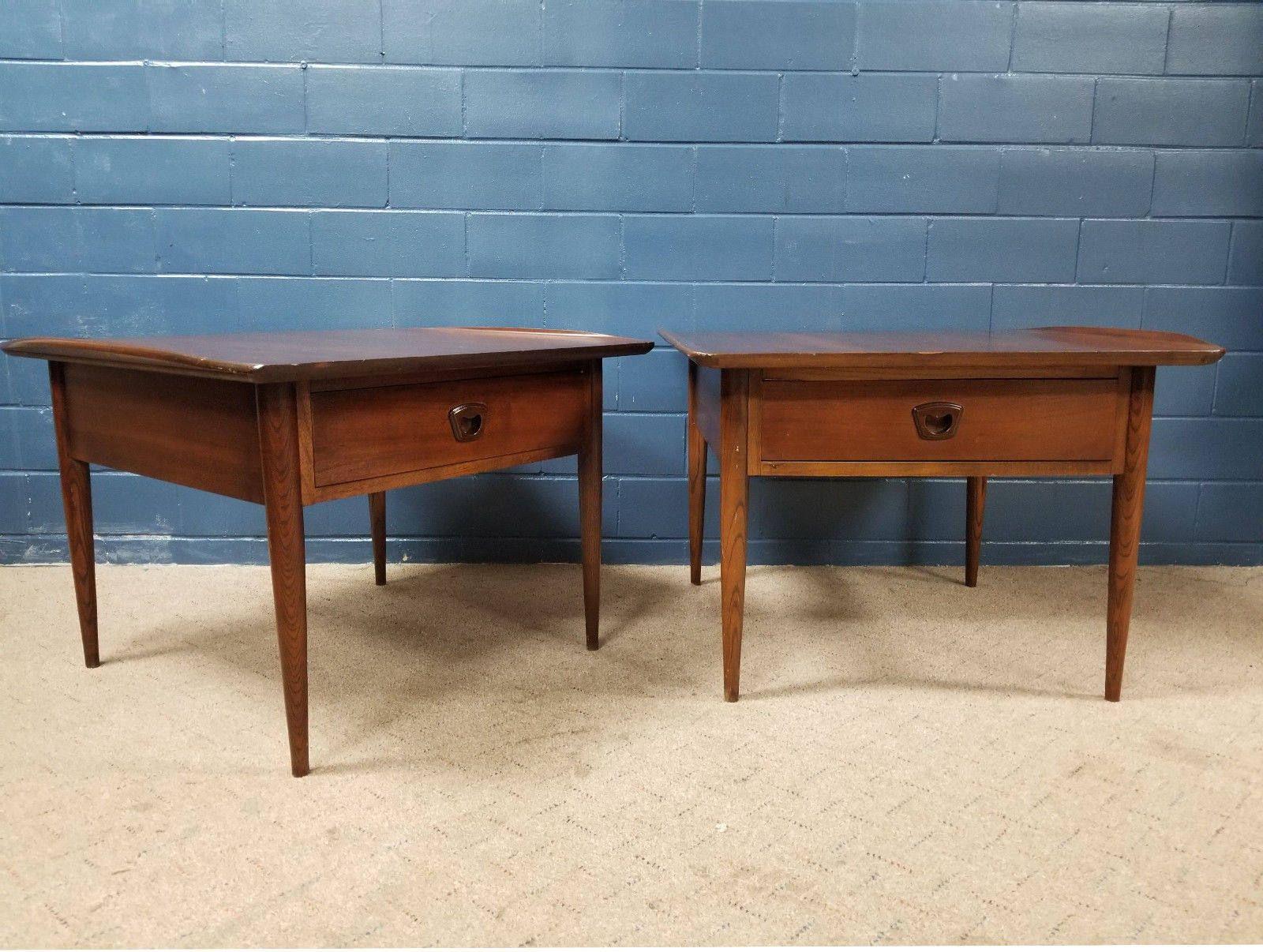 60s Mid Century Modern Bassett Pair End Tables Surfboard Side