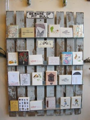 A Rustic Display Of Greeting Cards From Local Small Presses Greeting Card Display Business Card Displays Display Cards