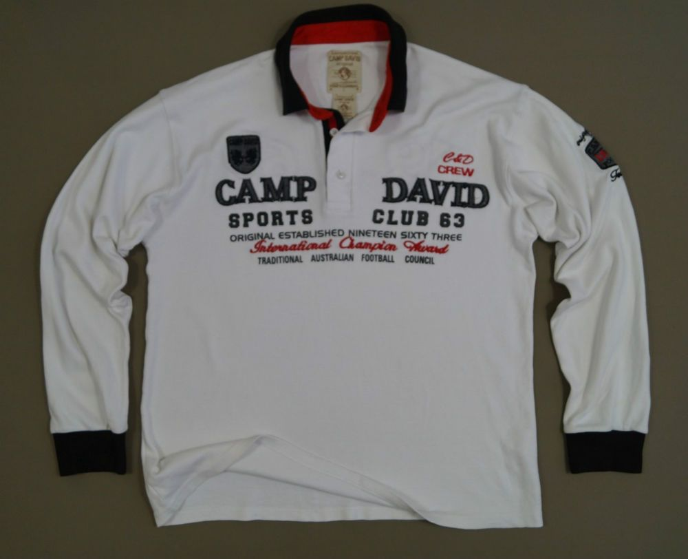 camp david original footbal club 1963 men 39 s jumper polo shirt top size l white camp david and. Black Bedroom Furniture Sets. Home Design Ideas